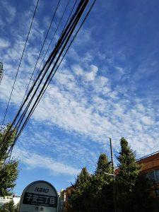 平成30年11月1日 今朝のルームズバー上空です