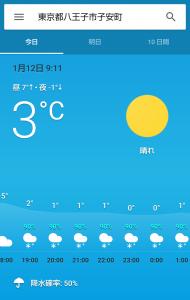 スマホの天気予報