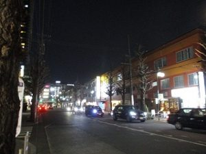 平成31年2月25日 夜のとちの木通りです