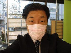 中年オヤジにピンクマスク~^^;